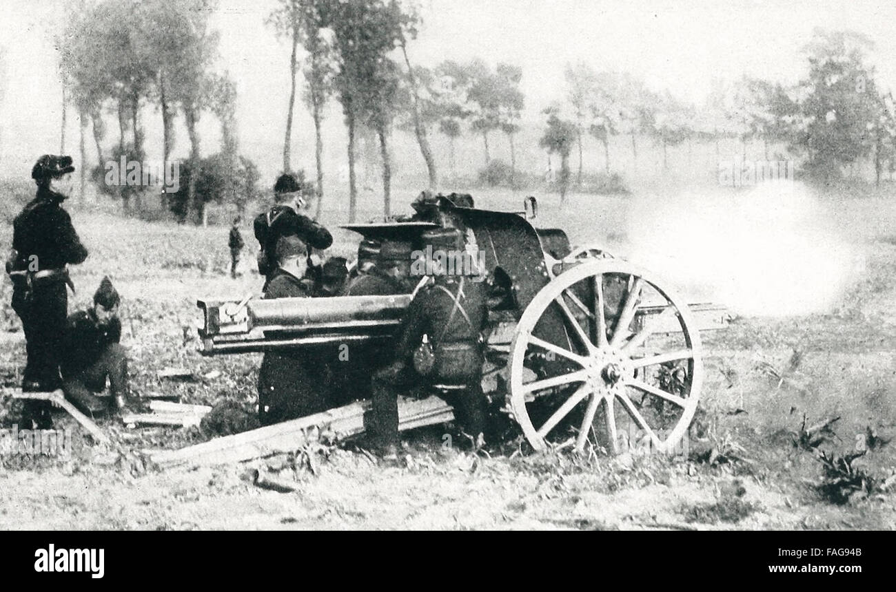 Belgian gunners and field gun in action on the firing line between Termond and St. Giles, Belgium, World War I - Stock Image