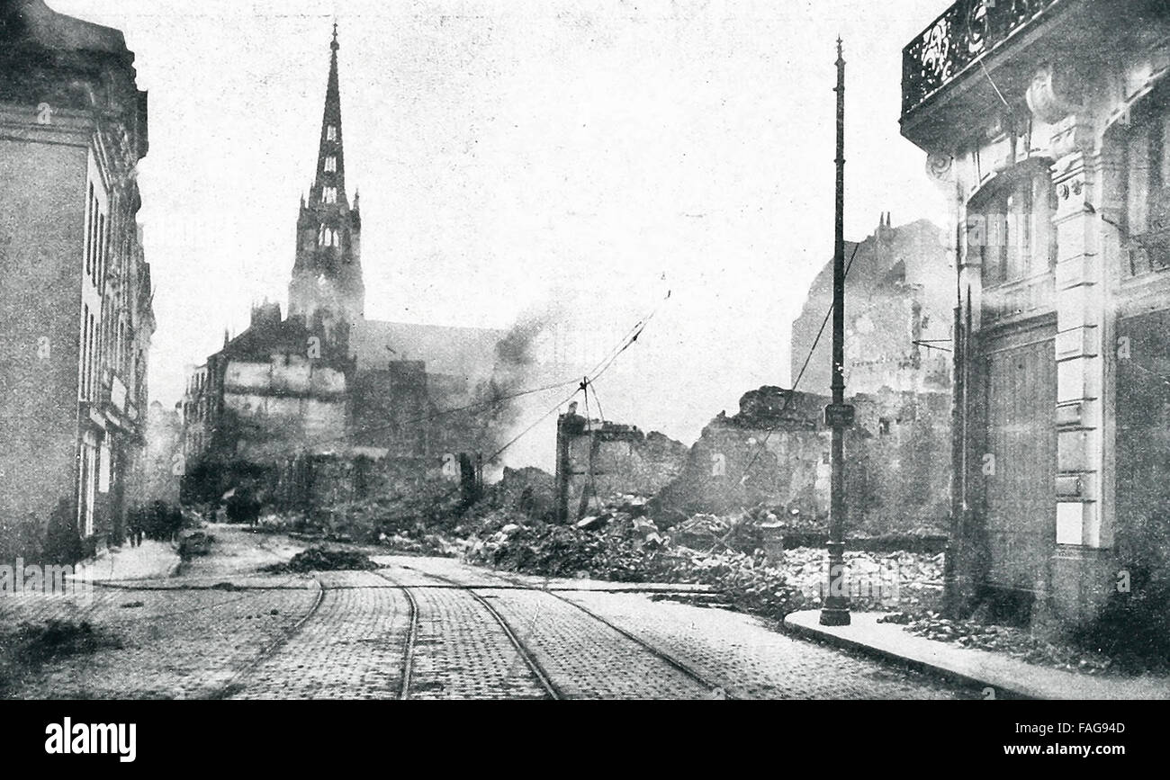 The City of Lille, France, under fire. During ther Great War, this city suffered bombardment by both Allies and - Stock Image