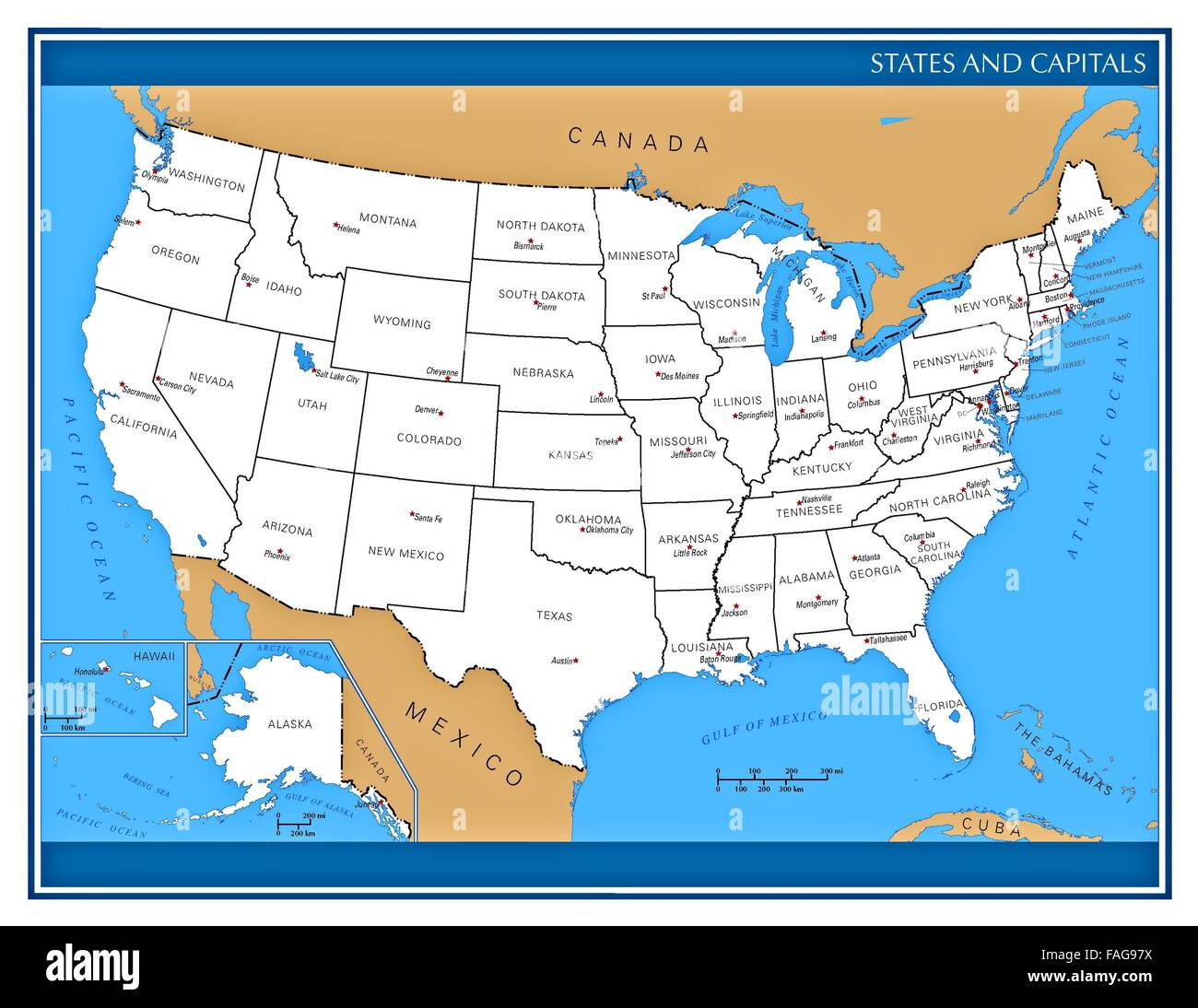 United States map showing administrative divisions and names of each ...