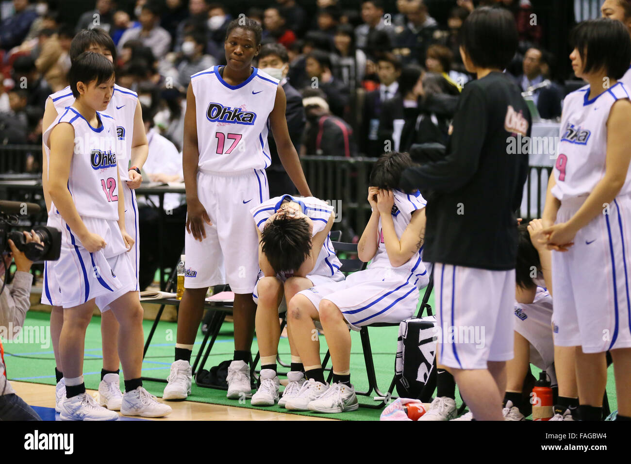 Tokyo Metropolitan Gymnasium, Tokyo, Japan. 28th Dec, 2015. Ohka gakuen team group, DECEMBER 28, 2015 - Basketball Stock Photo
