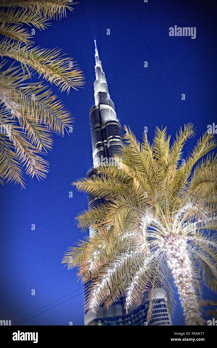 Burj Khalifa,, is a megatall skyscraper in Dubai, UAE It is the tallest artificial structure in the world,  standing - Stock Image