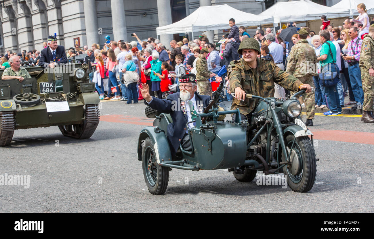 Veterans at the annual Armed Forces Day in Union Street, Aberdeen, Scotland, UK - Stock Image