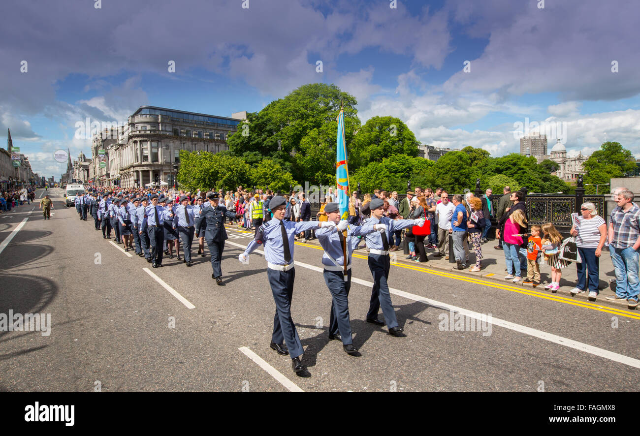 Royal Air Force cadets during the annual Armed Forces Day in Union Street, Aberdeen, Scotland, UK - Stock Image