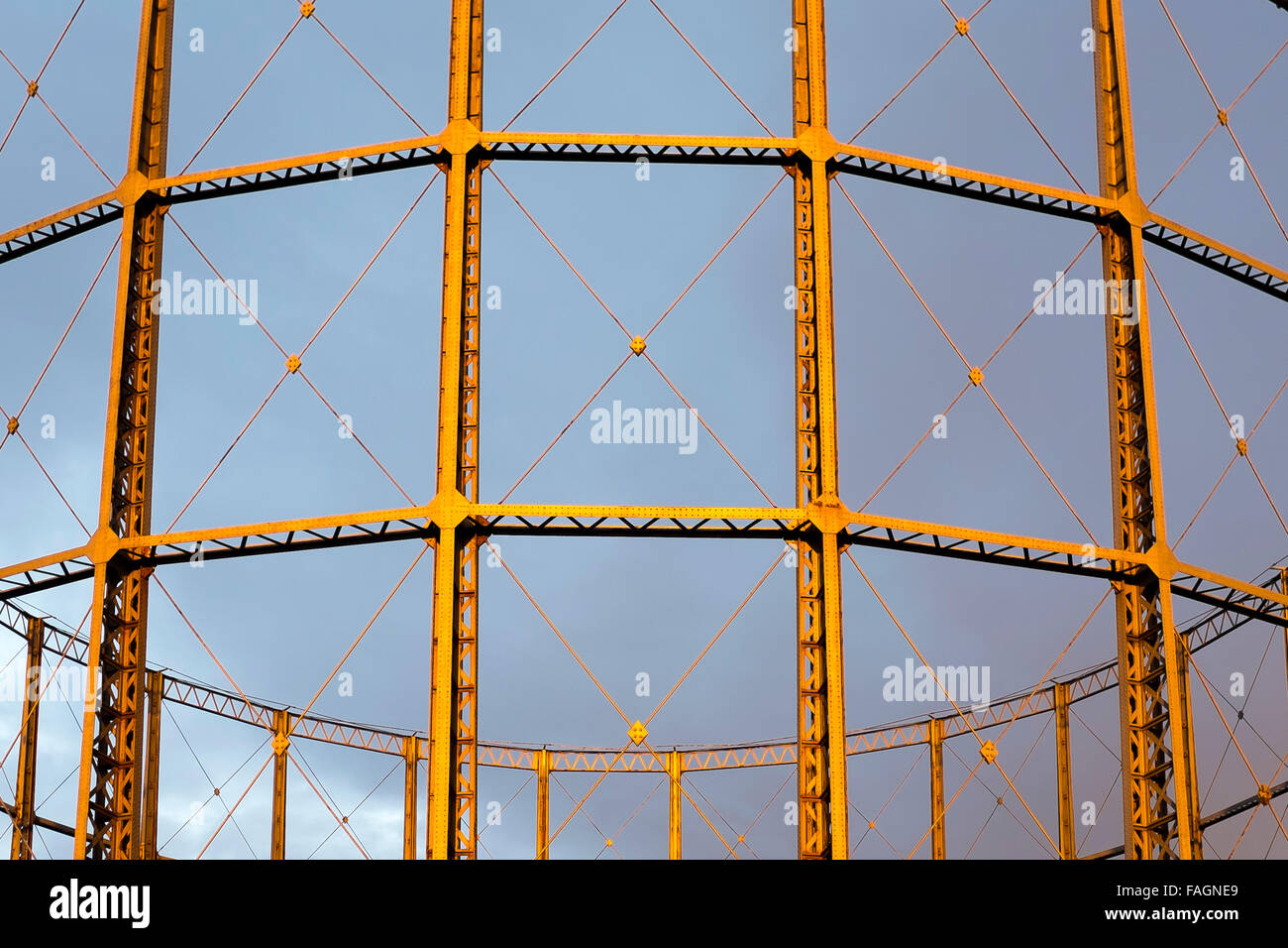 The Garston Gas holders at sunset. Once important industrial infrastructure, they are fast disappearing. South Liverpool, - Stock Image