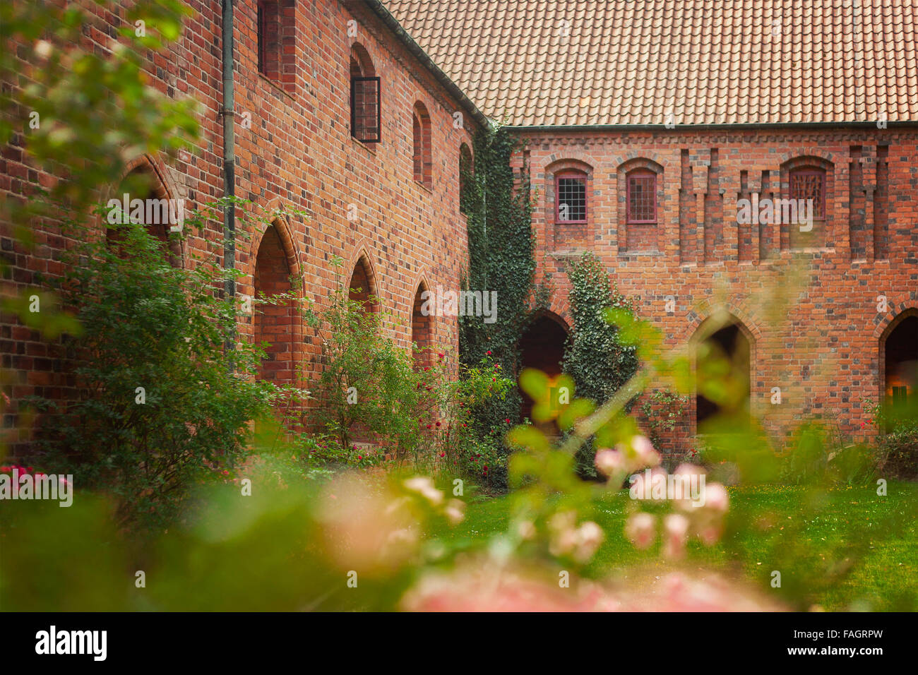 Image of the enclosed garden of the old Carmelite priory in Helsingor, Denmark. - Stock Image
