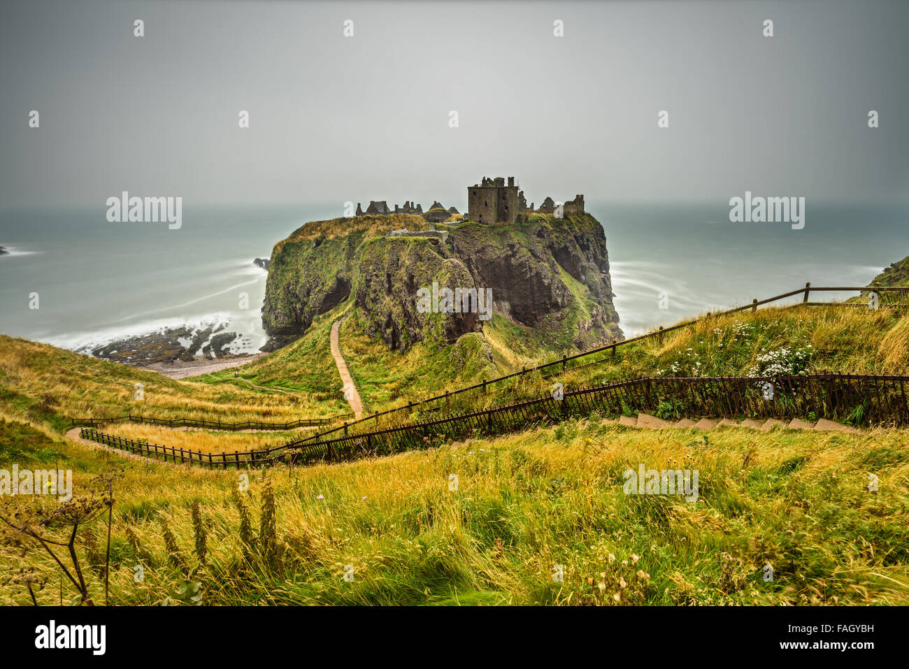 Dunnottar Castle, Scotland, United Kingdom. Long exposure. - Stock Image