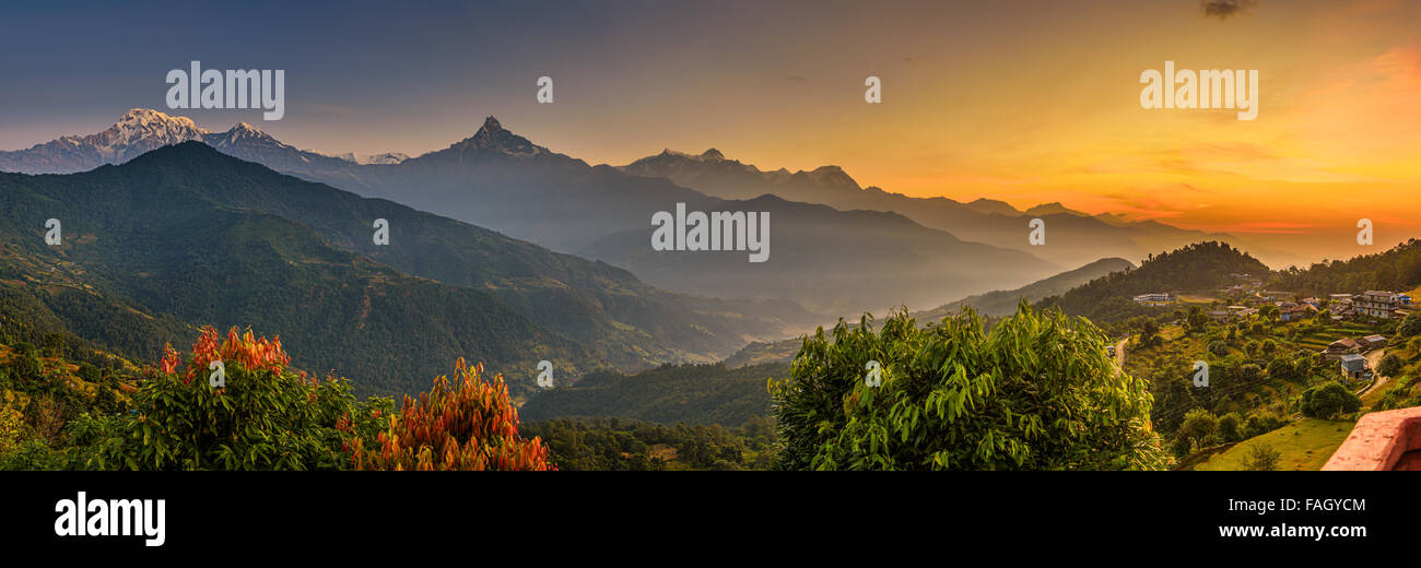 Sunrise over Himalaya mountains near Pokhara in Nepal - Stock Image
