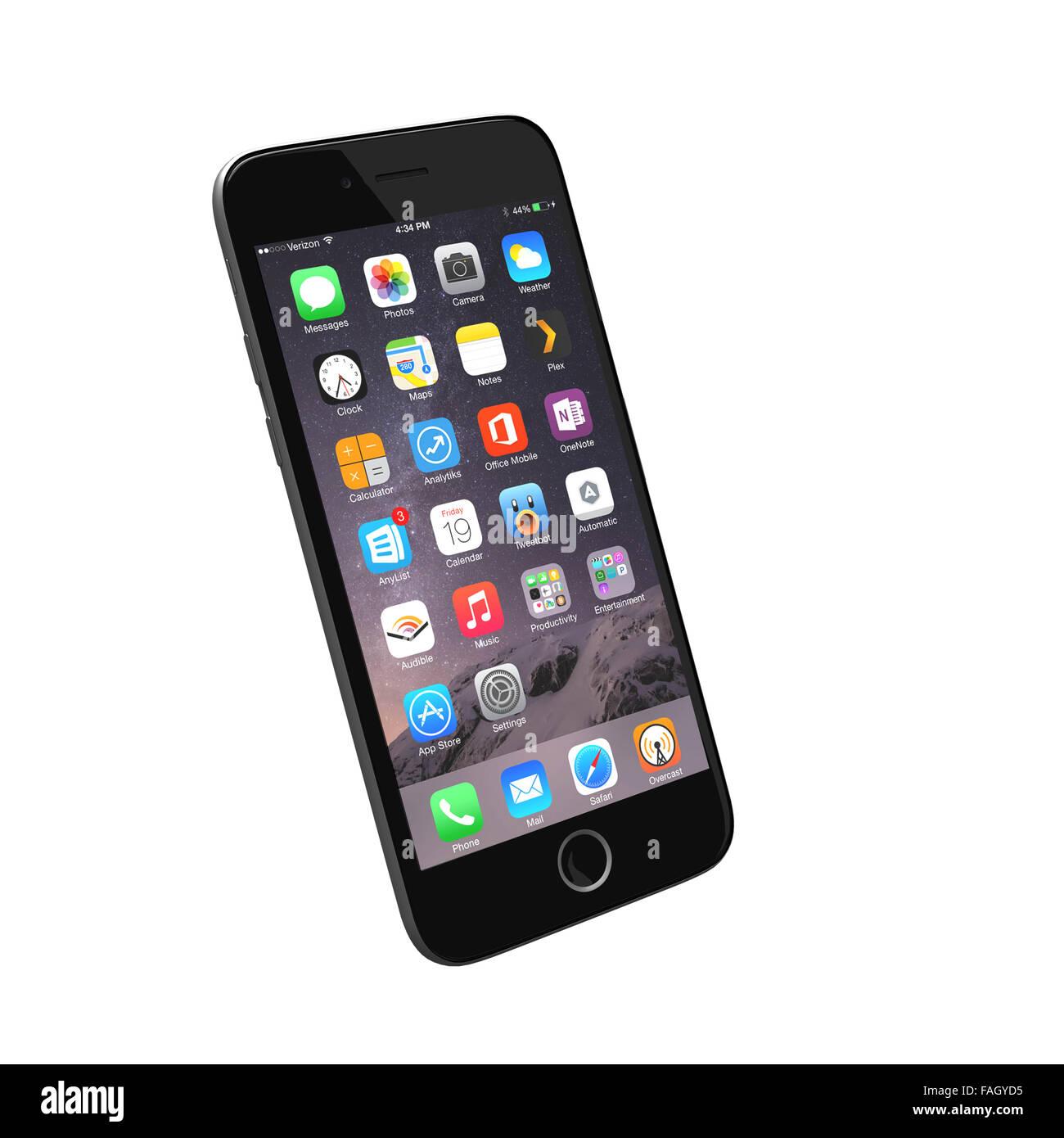 Hilvarenbeek, Netherlands  - December 18, 2015: Realistic render of a smart phone based on iPhone 6 reference images. - Stock Image