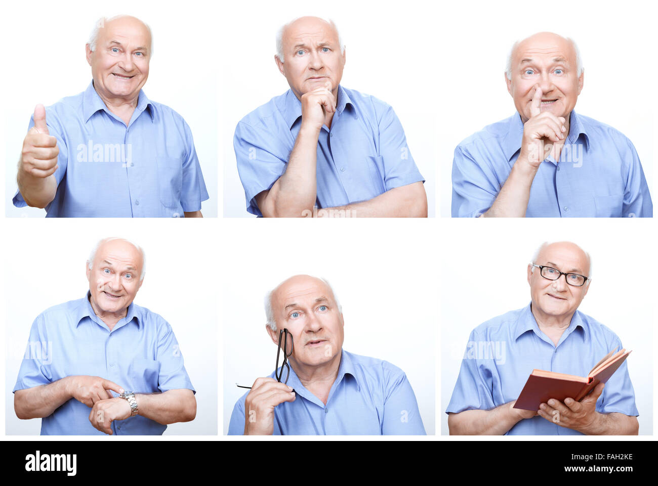 Senior man acting differently for each photo. - Stock Image