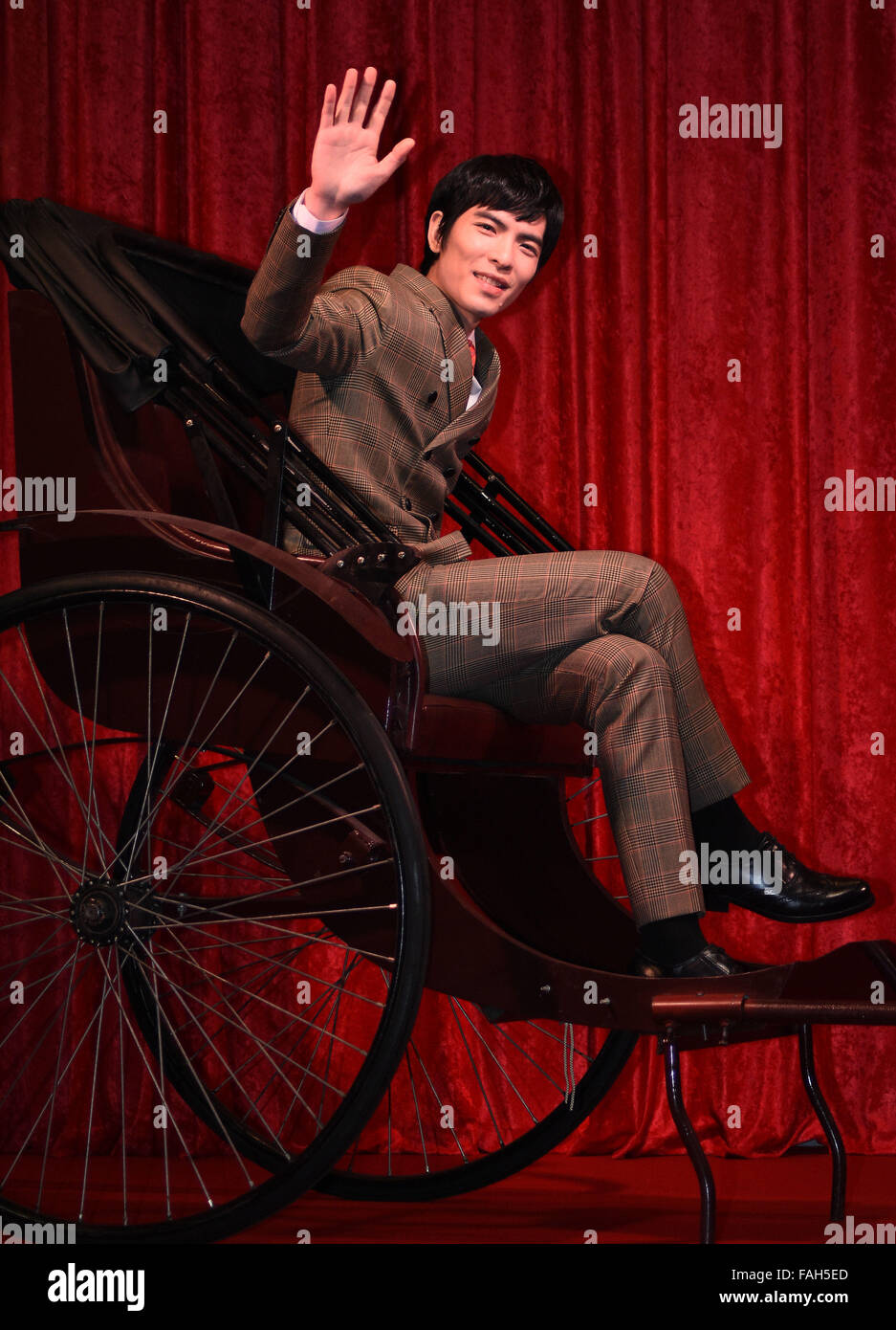 (151230) -- TAIPEI, Dec. 30, 2015 (Xinhua) -- Singer Jam Hsiao poses during a press conference of his new album - Stock Image