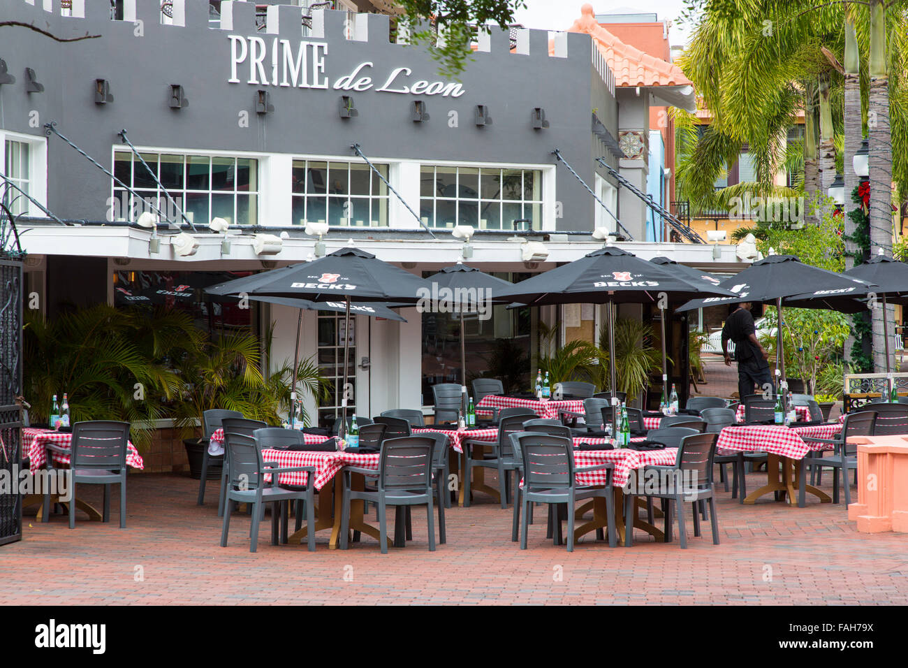 Outdoor Restaurant In Downtown Fort Myers Florida Stock
