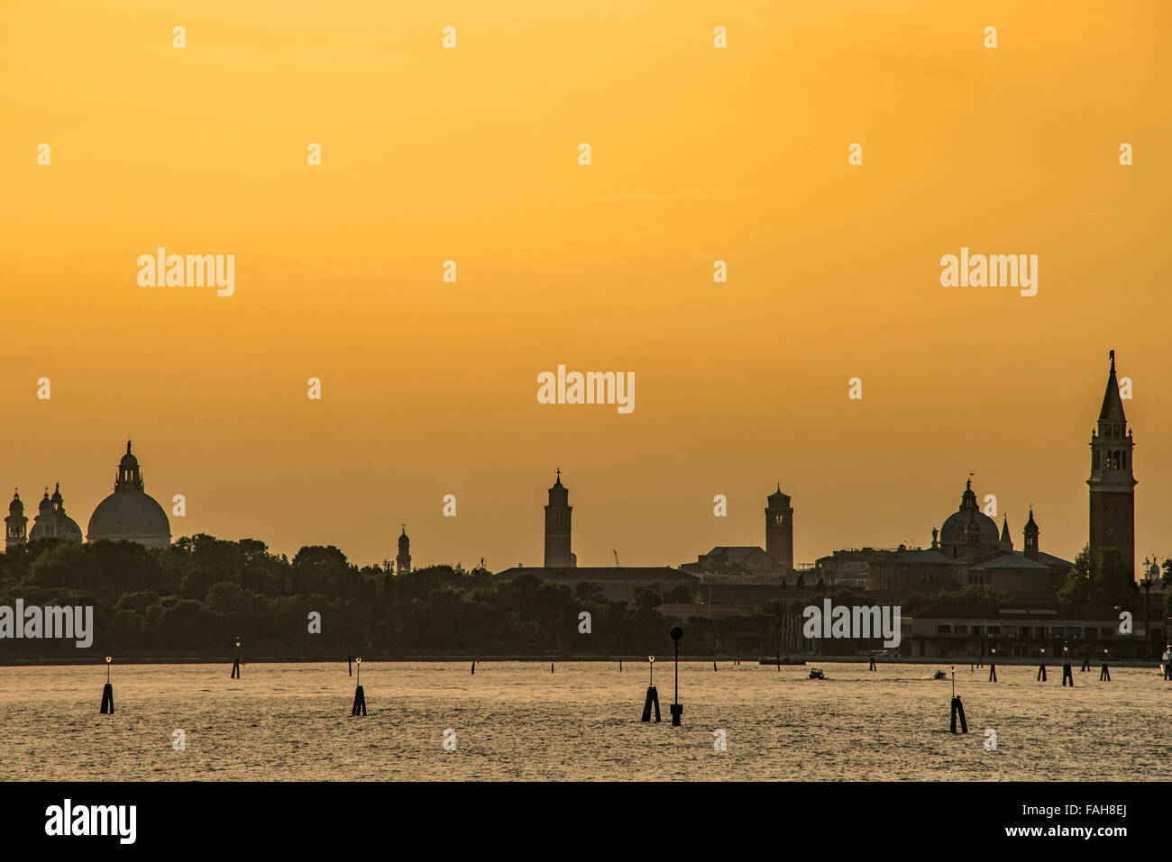 Stunning golden Sunset over the city of Venice Italy Stock Photo