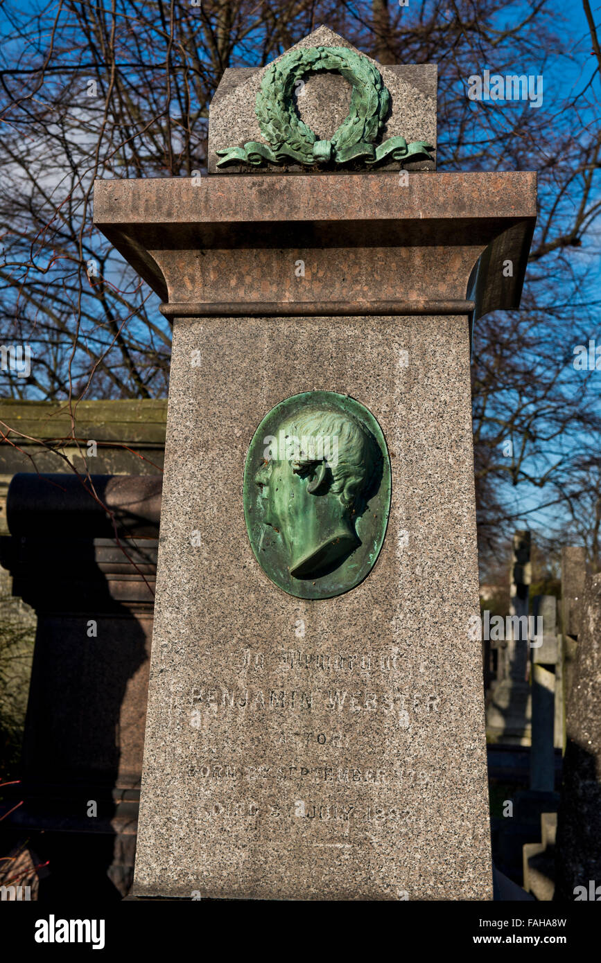 The tomb of Benjamin Webster English actor-manager and dramatist within Brompton Road Cemetery, West London. - Stock Image