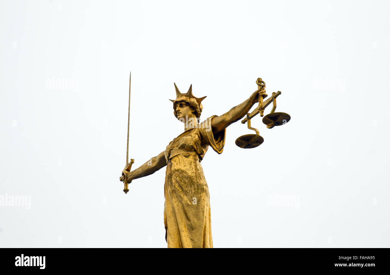 Lady Justice statue at the Central Criminal Court, Old Bailey, London, Britain - Stock Image