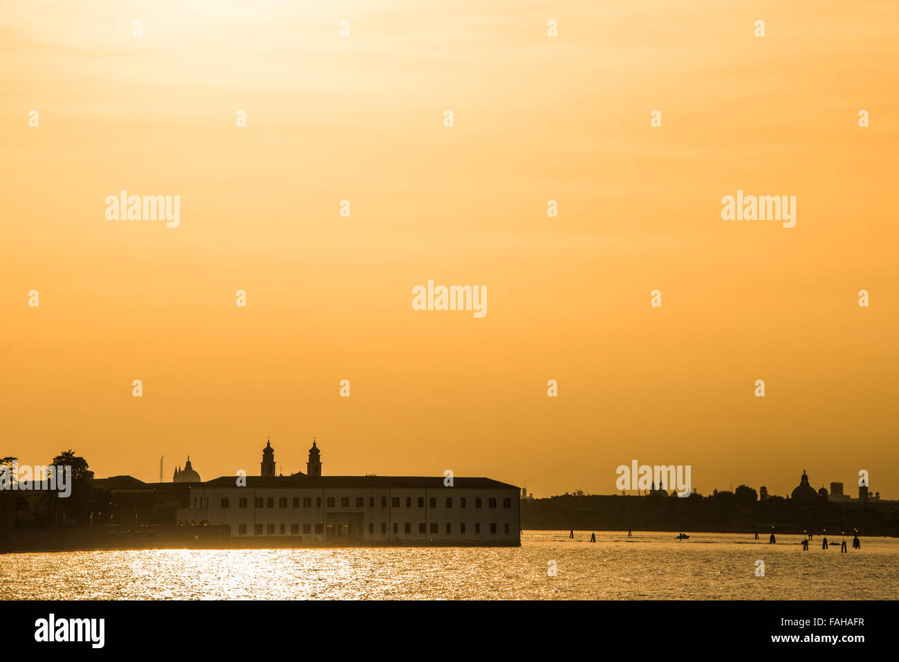 Stunning Sunset over the city of Venice Italy Stock Photo