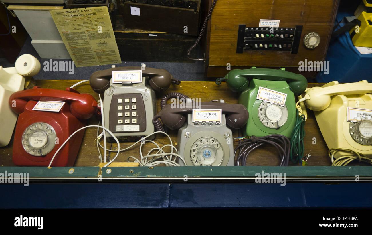 Old telephones at RAF Neatishead, Norfolk, RAF Air Defence Radar Museum. - Stock Image