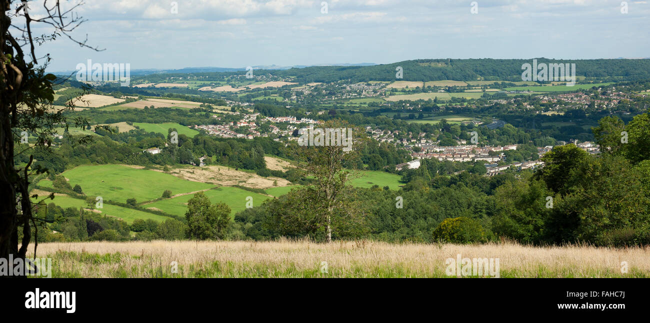 Scenic Somerset English countryside, the view from the Greyhound pub - Stock Image