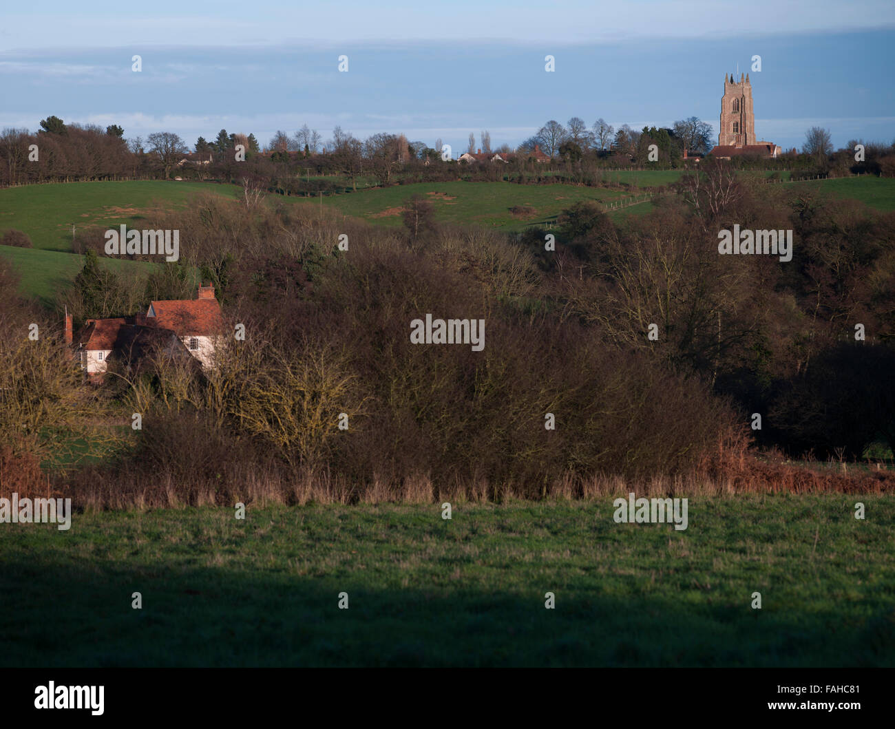View of St Marys Church Stoke-by-Nayland, Suffolk. Part of the Stour valley, Constable country. - Stock Image