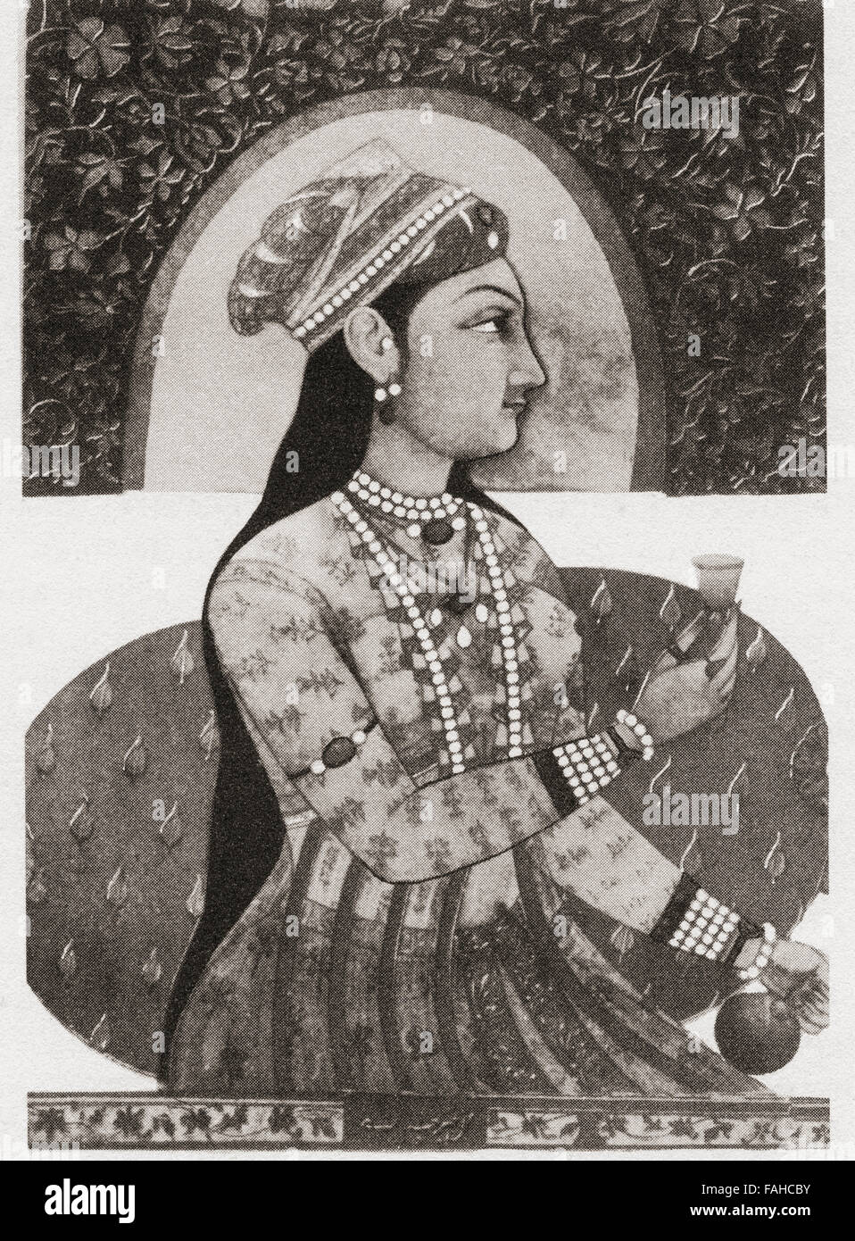 Reputed portrait of Nur Jahan, 1577 – 1645, born as Mehr-un-Nissa.  Empress of the Mughal Empire as the chief consort - Stock Image