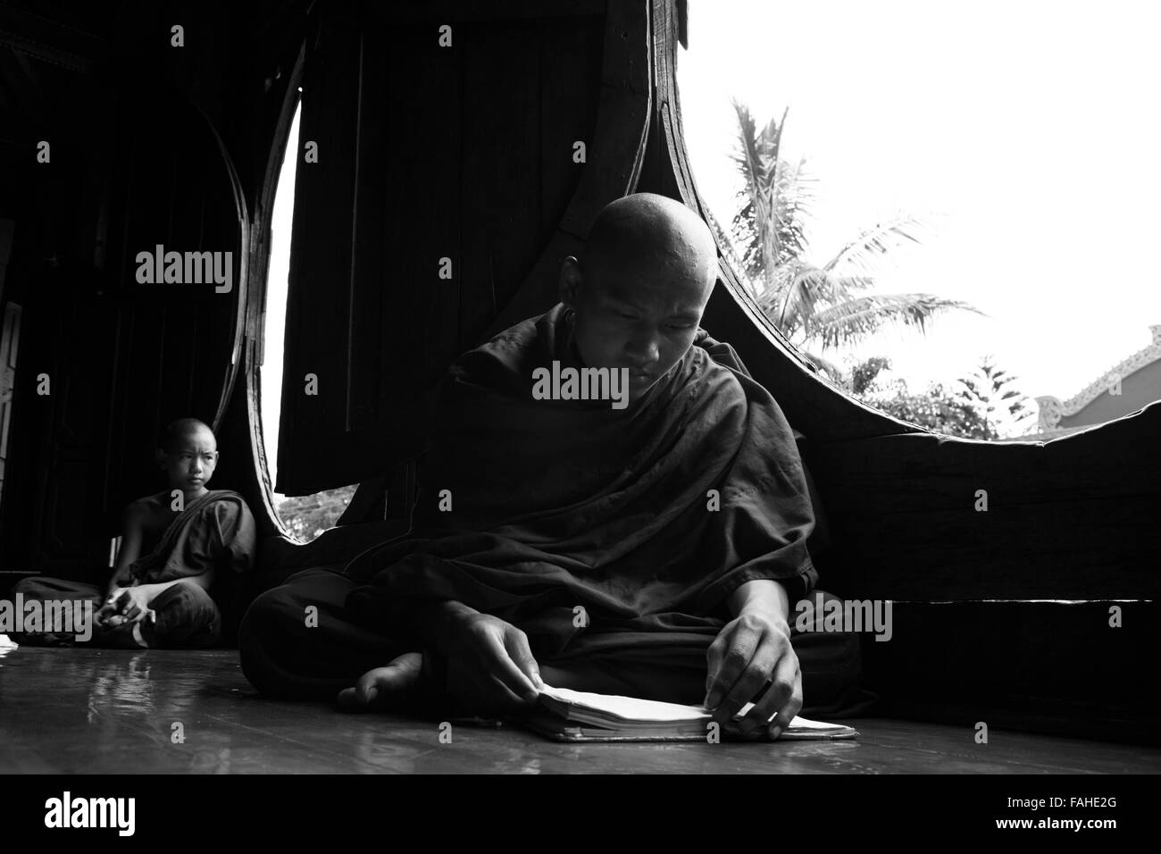 Buddhist monks at Shwe Yan Pyay Monastery at Taunggyi, Myanmar (Burma). - Stock Image