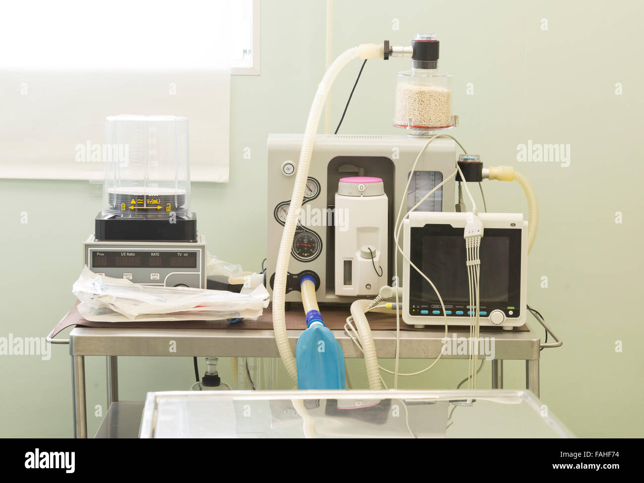 An equipment for operation of animals in an veterinary clinic. - Stock Image