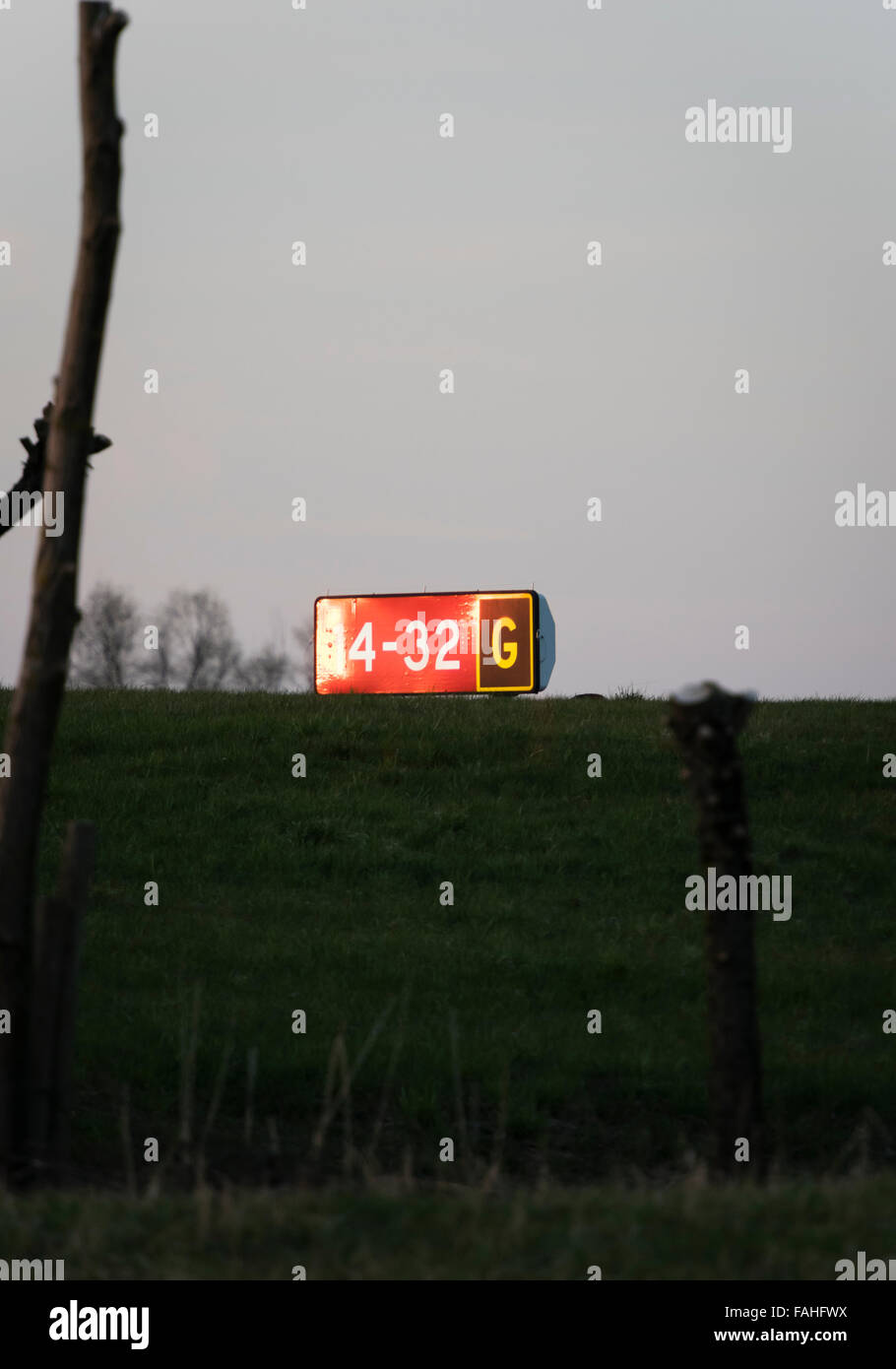 Runway signalisation in the evening twilight at Zurich international airport - Stock Image