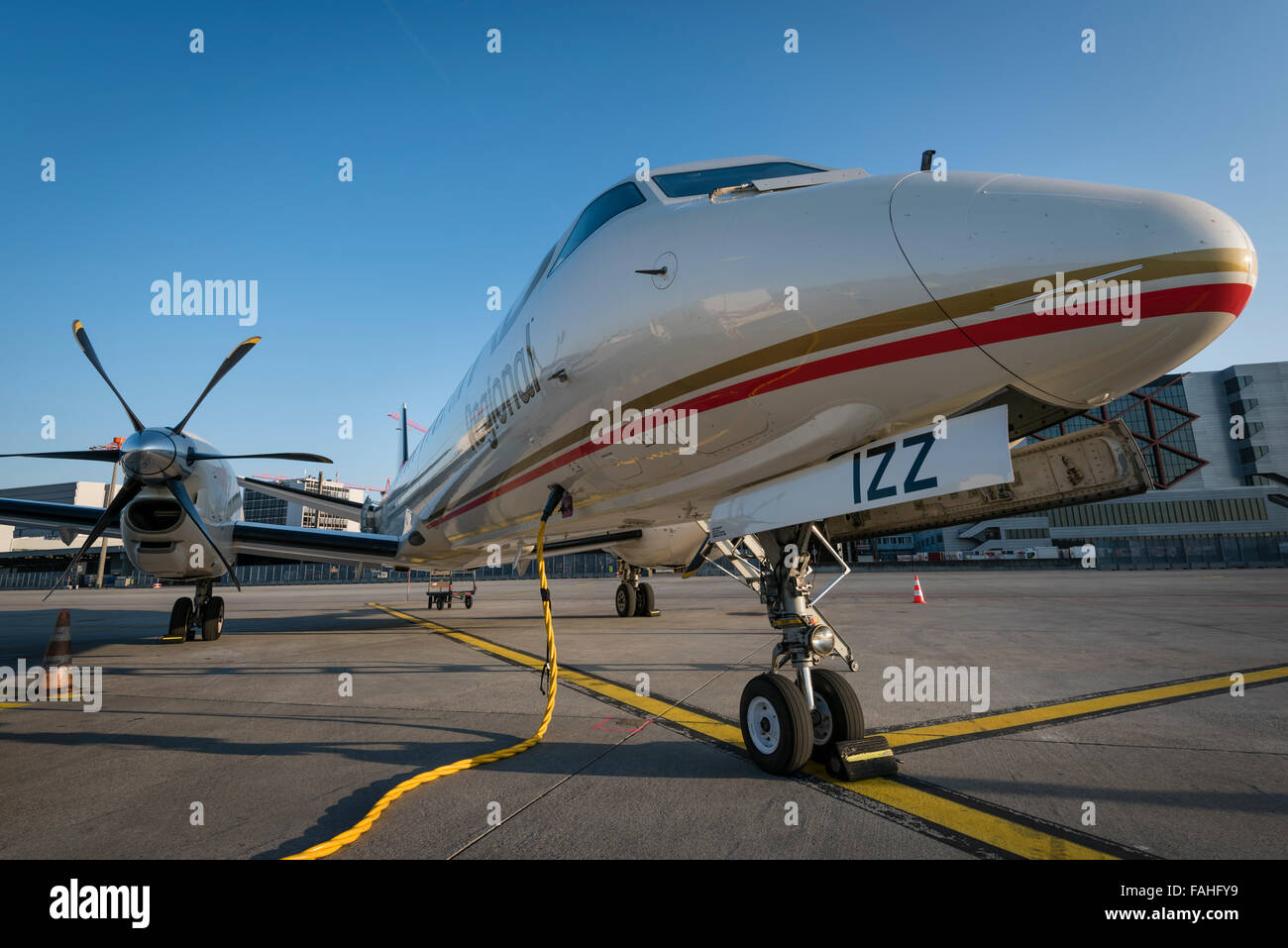 Short-haul business aircraft of Ethiad airline parked at Zurich international airport - Stock Image