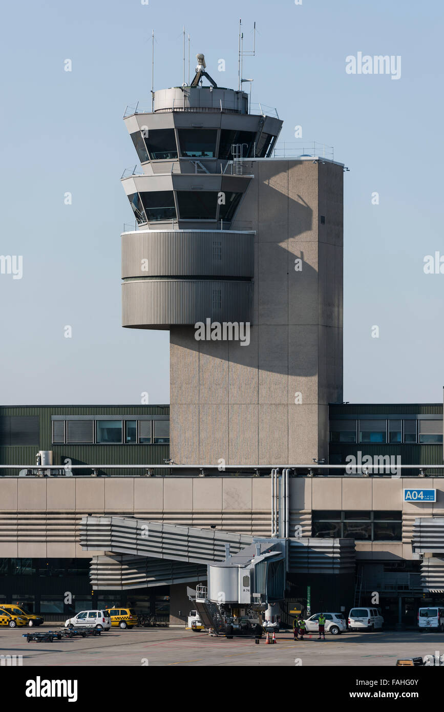 Air traffic control tower and terminal building of Zurich international airport (Zurich Kloten, Switzerland). - Stock Image