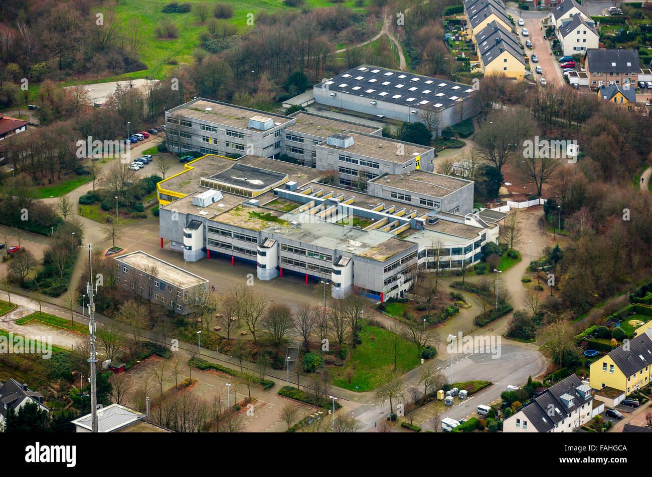 Aerial view, vocational colleges Lehner Street, comprehensive school Saarn, Saarner knoll Saarn, Mülheim an - Stock Image