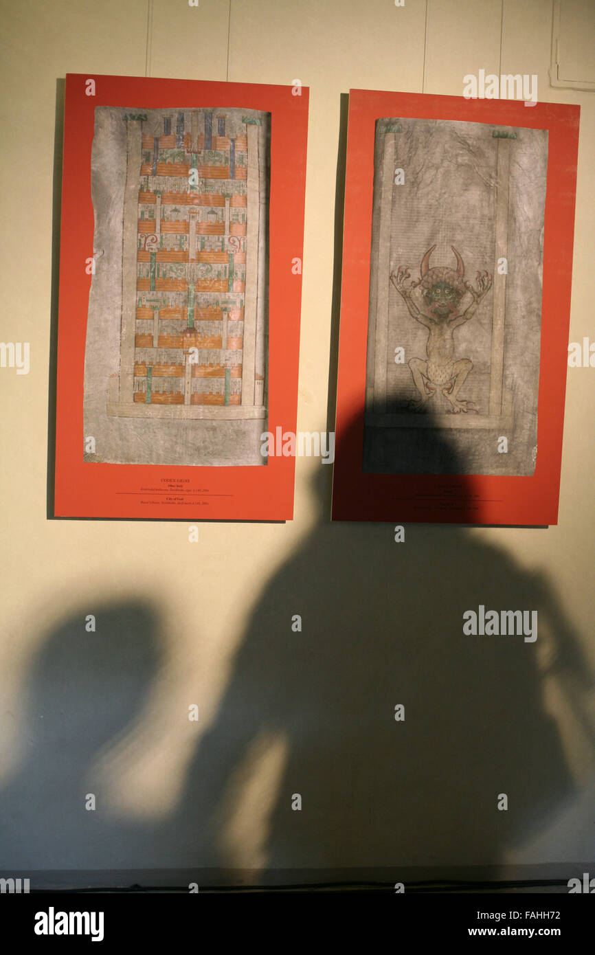 Facsimile of the pages from the largest medieval manuscript in the world known as the Codex Gigas or also as the - Stock Image
