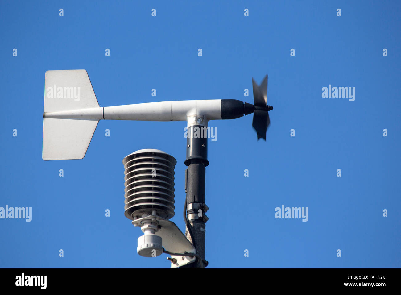 Revolving vane anemometer, a meteorological instrument used to measure the wind speed - Stock Image