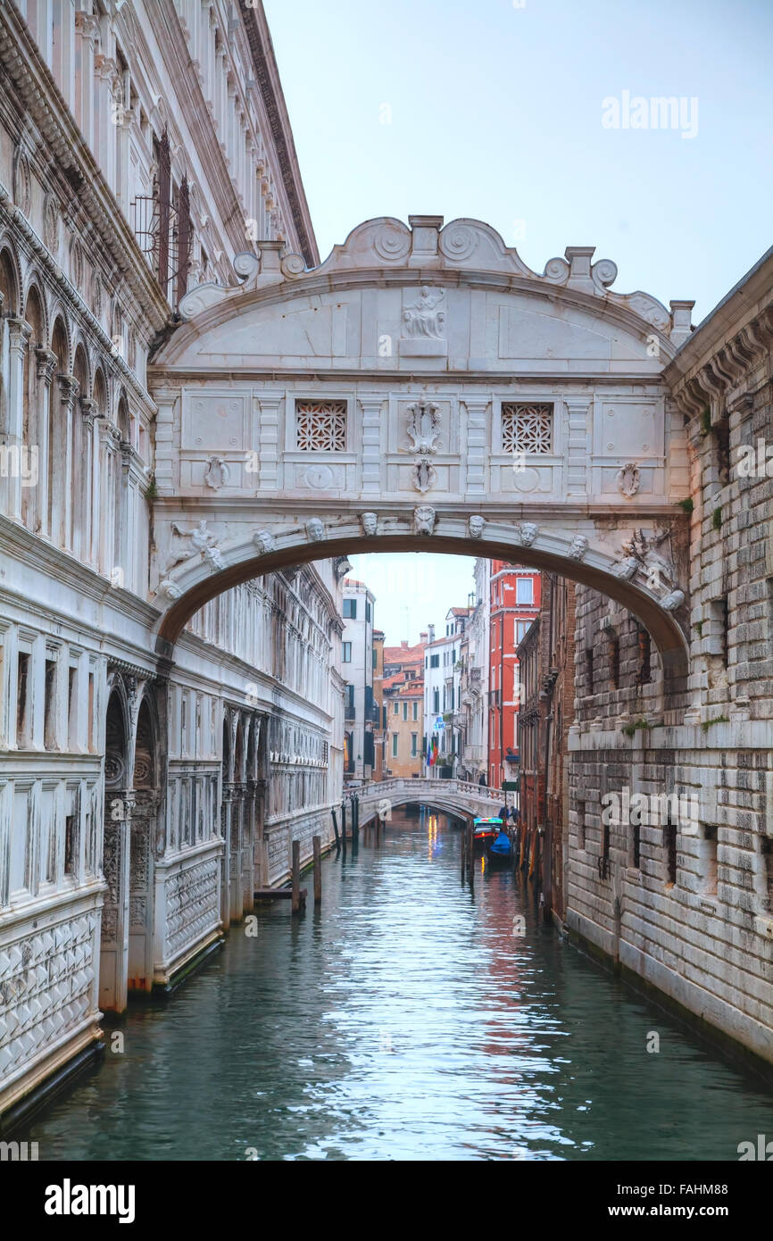 Bridge of sighs in Venice, Italy at the sunrise - Stock Image