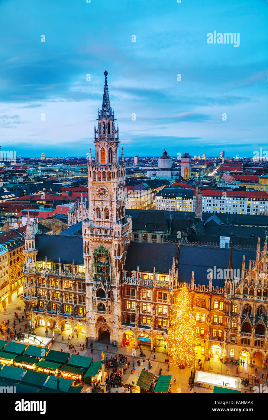 MUNICH - NOVEMBER 30: Aerial view of Marienplatz on November 30, 2015 in Munich. It's the 3rd largest city in - Stock Image