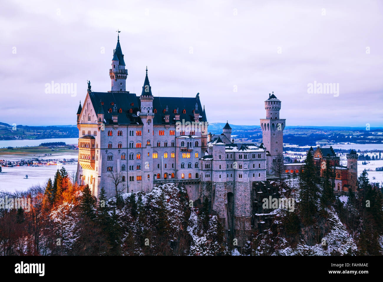 Neuschwanstein castle in Bavaria, Germany at winter time - Stock Image