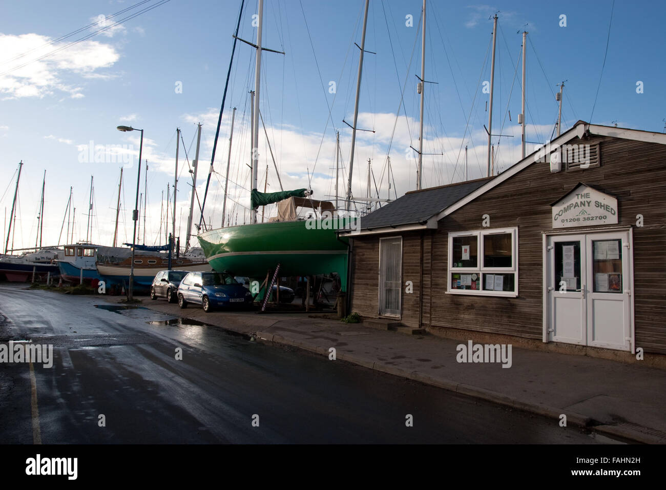 The Company Shed, famous seafood eating place at West Mersea, Mersea Island, Essex - Stock Image