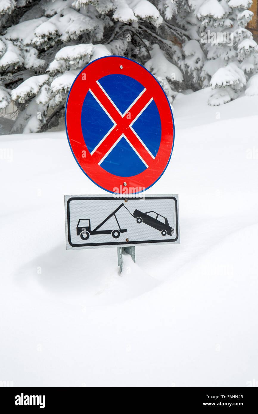 No parking sign in snow, Uludag, Bursa, Turkey - Stock Image