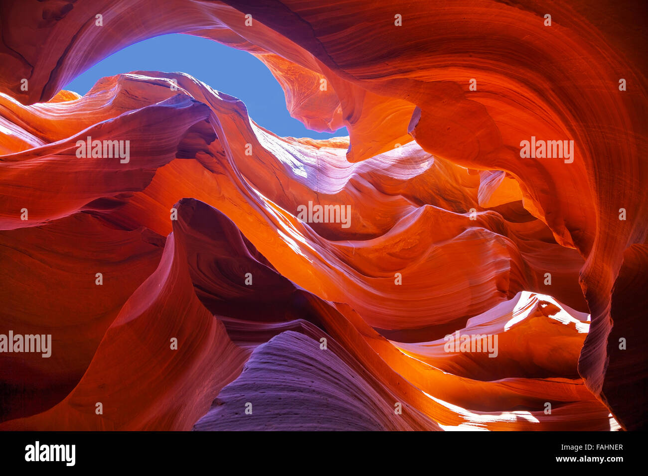 Lower Antelope Canyon view near Page, Arizona at noon - Stock Image