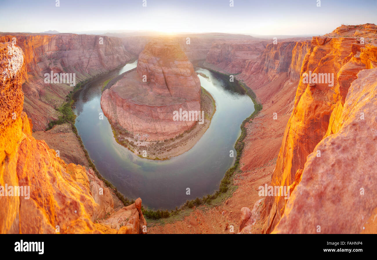 Panoramic overview of Horseshoe Bend near Page, Arizona at sunset - Stock Image