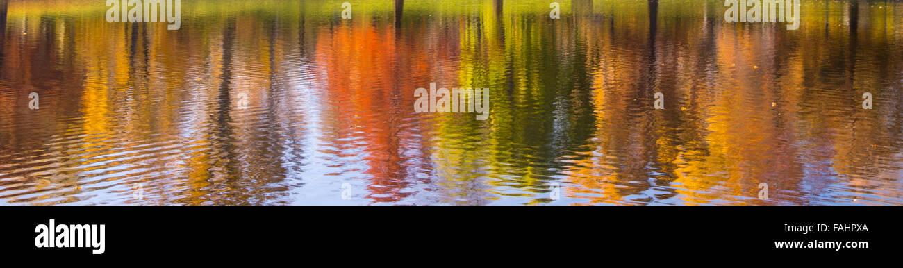 Colorful Autumn Tree Lined Water Reflections. Julia Davis Park Pond, Boise River Greenbelt, Boise, Idaho, USA - Stock Image