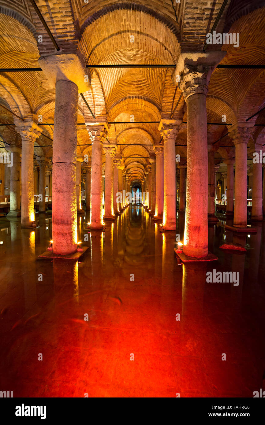 Underground Basilica Cistern, Istanbul, Turkey. Stock Photo