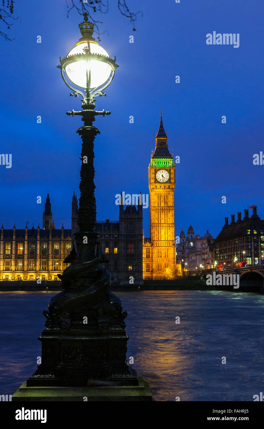 The Houses of Parliament viewed from the Albert Embankment in London. - Stock Image