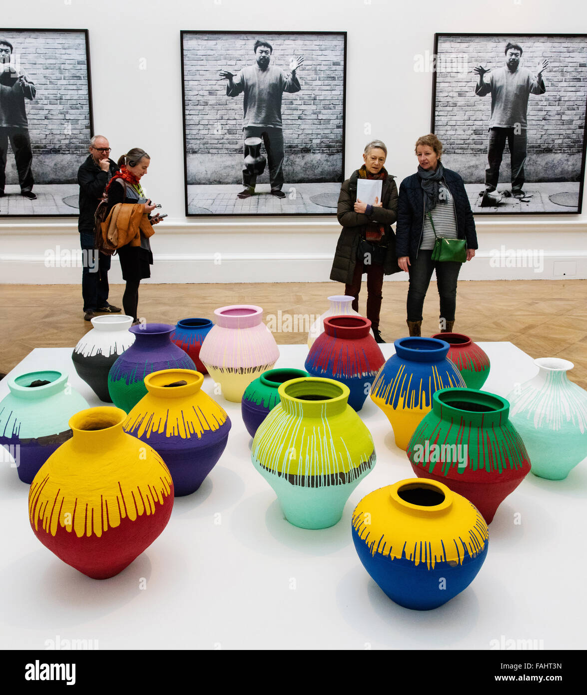 Ai Weiwei's ' Coloured Vases ' at his 2015 exhibition at the Royal Academy in London UK - Stock Image