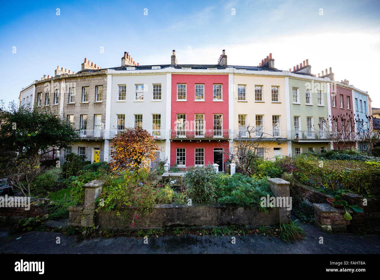 The Polygon - an elegant crescent of Georgian houses in Cliftonwood Bristol UK - Stock Image
