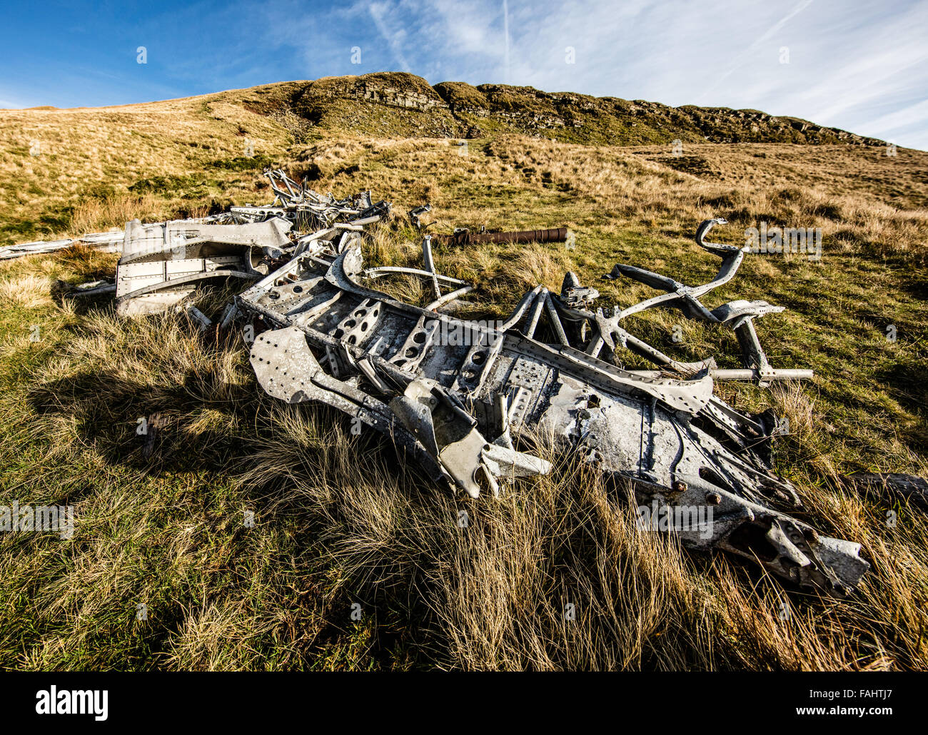 Wreckage of WWII Canadian Air Force Wellington Bomber R 1465 at Waun Rydd in the Brecon Beacons South Wales UK - Stock Image