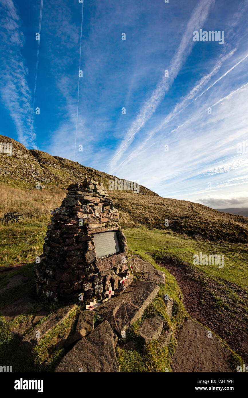 Memorial plaque to WWII Canadian Air Force crash of Wellington Bomber R1465 at Waun Rydd in the Brecon Beacons South - Stock Image