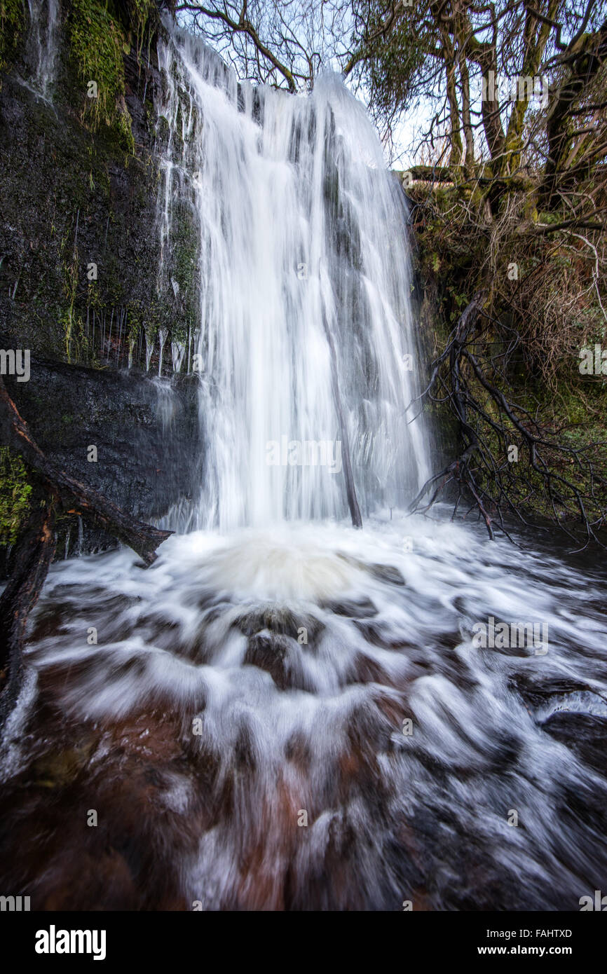 Small waterfall at Blaen y Glyn near Talybont on the Brecon Beacons South Wales UK - Stock Image