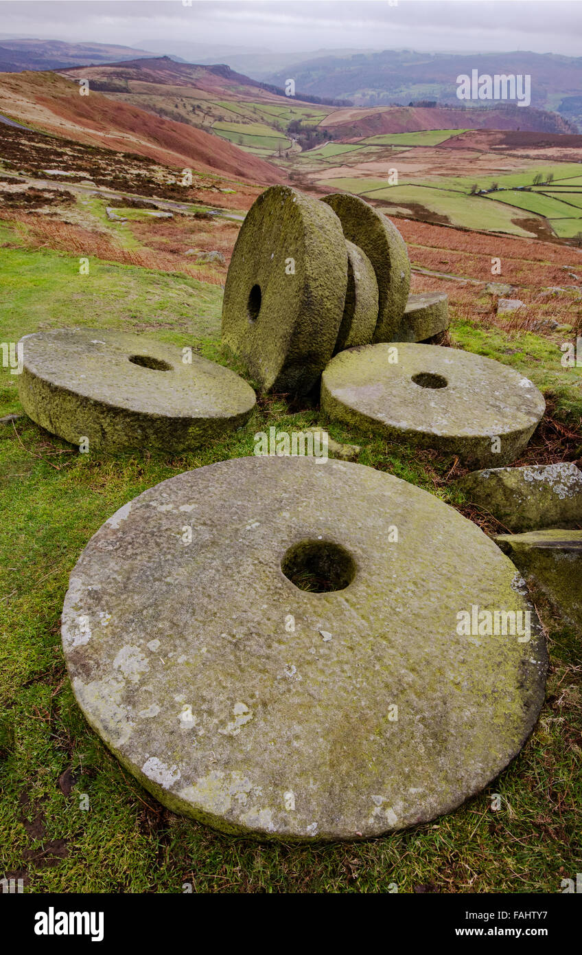 MIllstones below Stanage Edge in the Derbyshire Peak District UK looking towards the Derwent valley - Stock Image