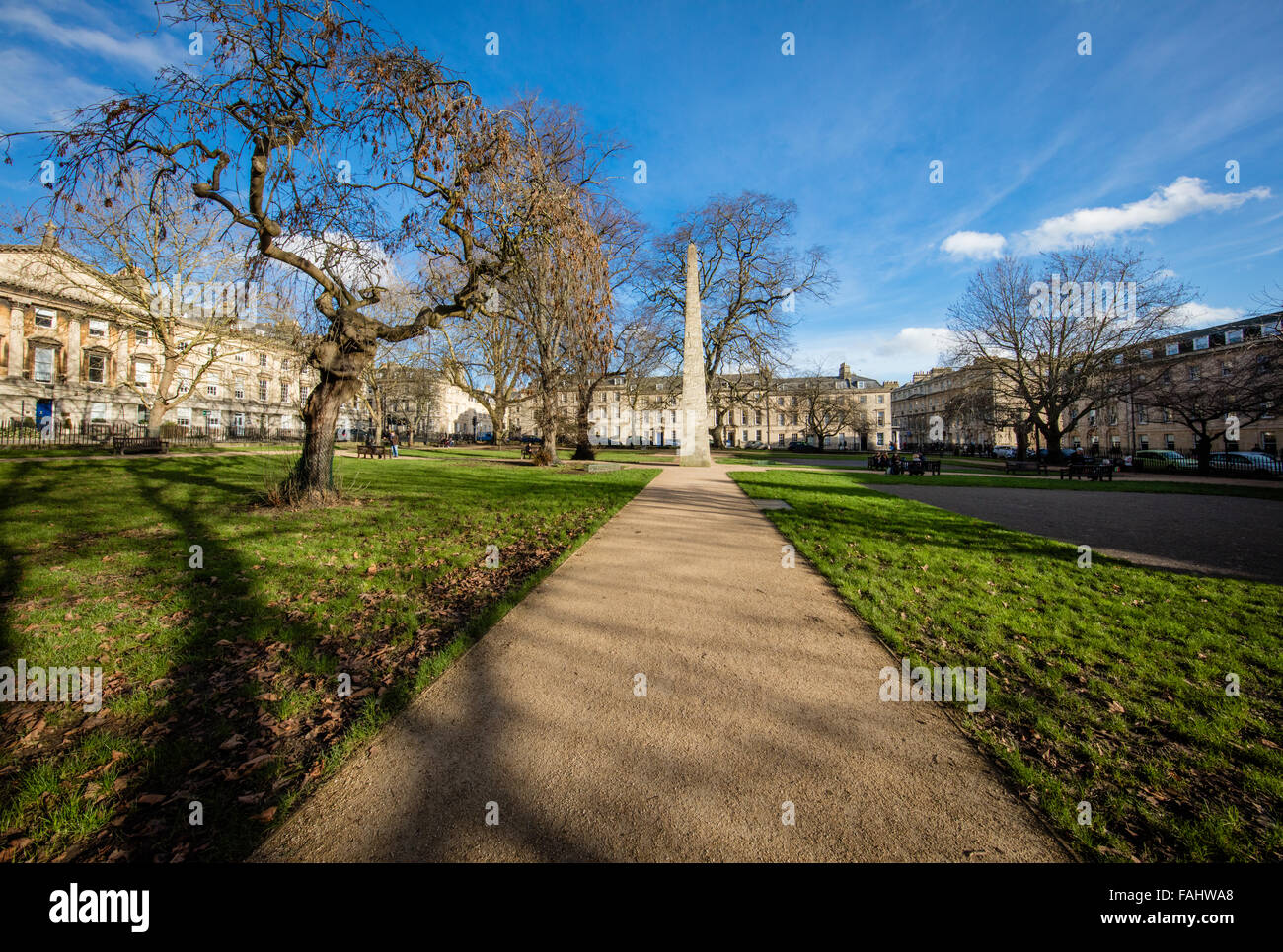 Queen Square in Bath UK with the Beau Nash obelisk forming the centrepiece to this  Georgian square built by architect - Stock Image