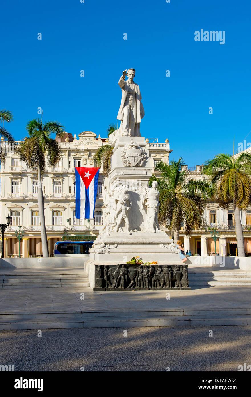 Jose Marti statue, in front of Inglaterra Hotel, Havana, Cuba - Stock Image