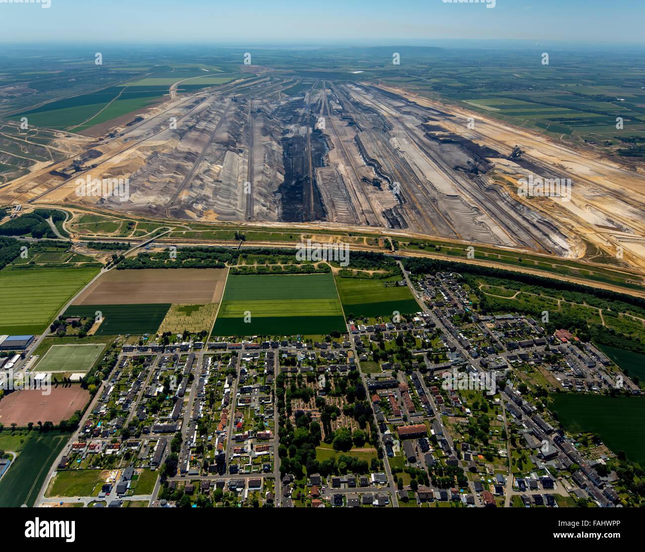 Aerial view, lignite, brown coal mining Garzweiler in Juchen, energy, lignite excavator, bucket wheel excavators, - Stock Image